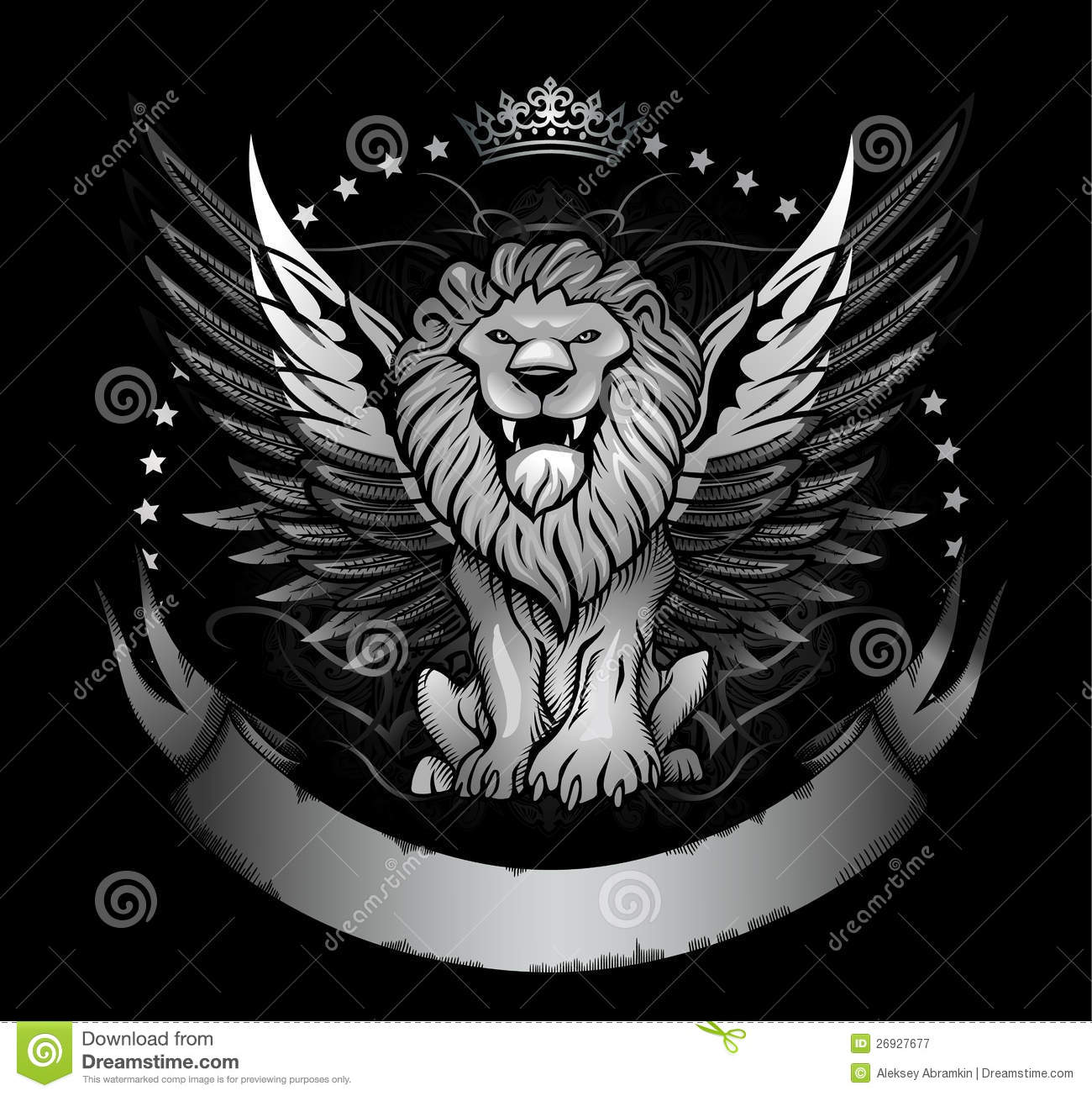 Lion With Crown Wallpaper Lion With Crown Tattoo Design: Winged Lion Badge Or Crest Royalty Free Stock Photography