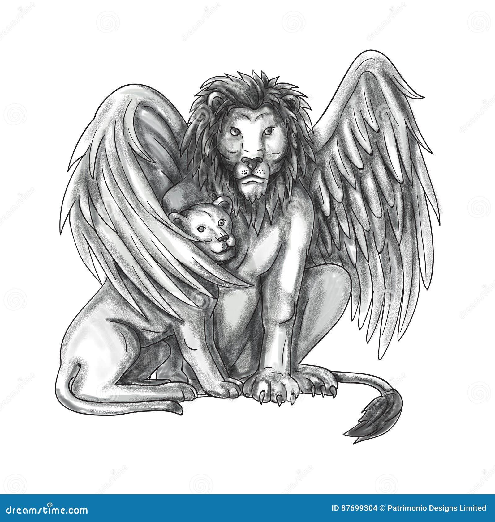 Winged lion tattoo - photo#27
