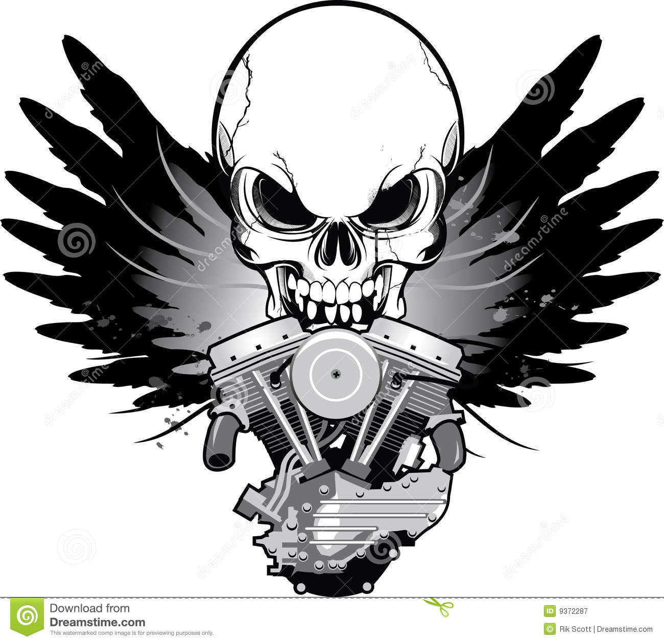 Winged motorcycle engine with skull