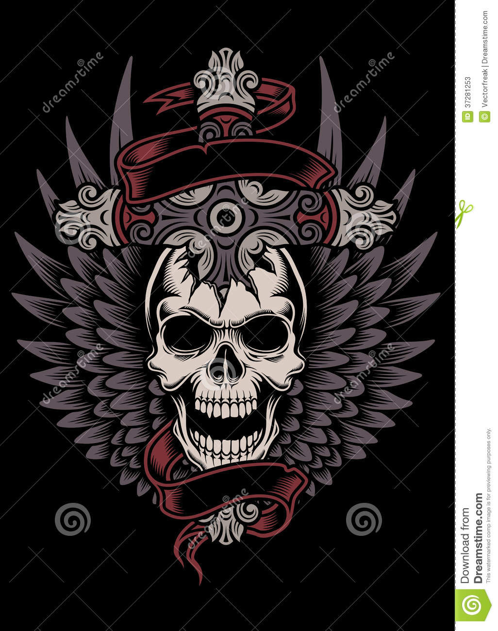 Winged Skull With Cross Stock Vector Illustration Of