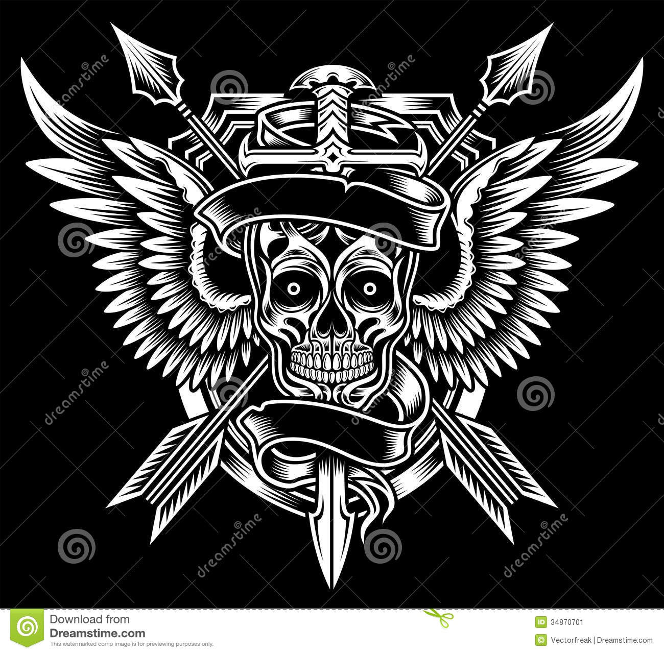 ... image suitable for crest, emblem, insignia, t-shirt design or tattoo