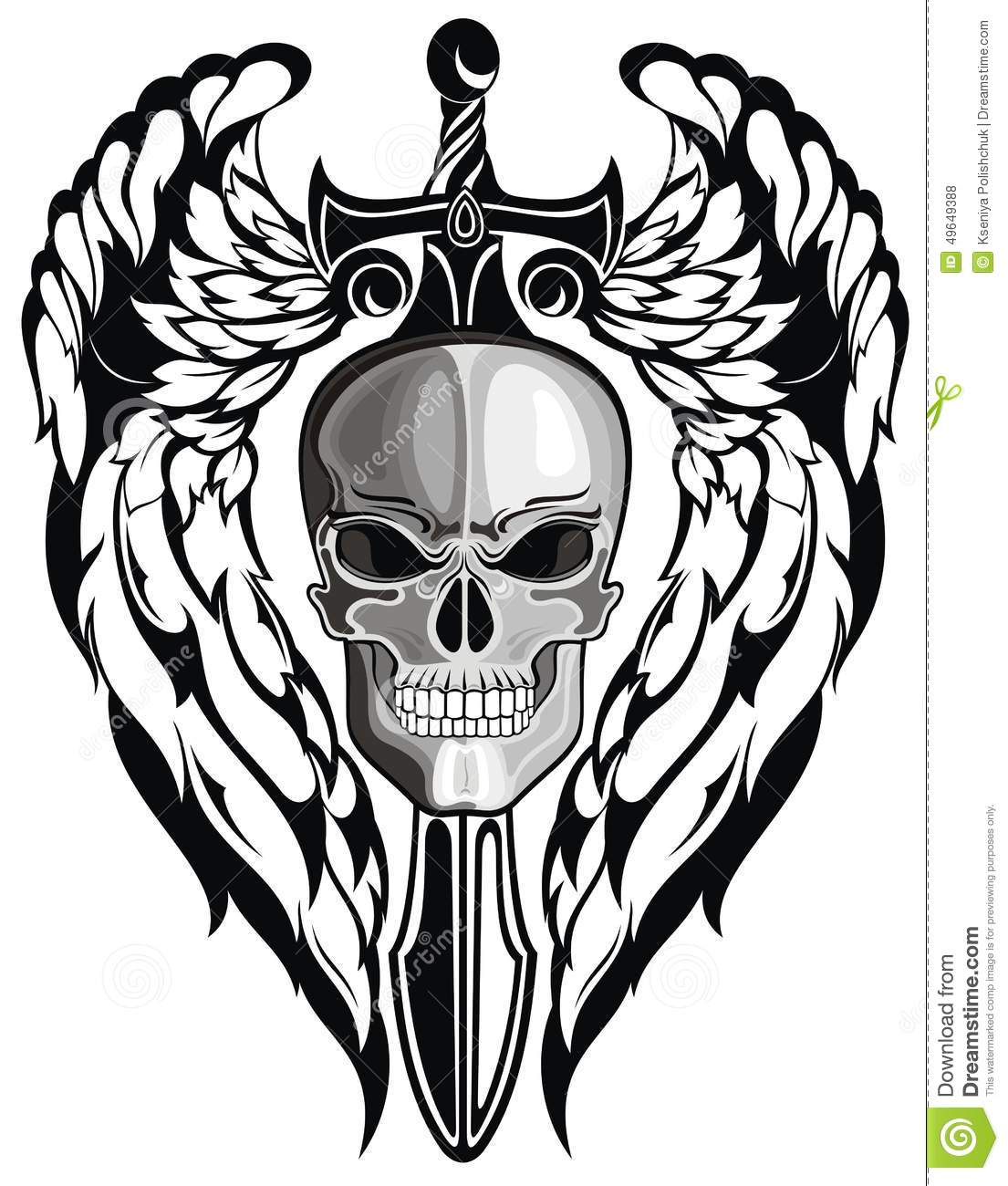 Winged Skull With Sword Stock Vector Image 49649388