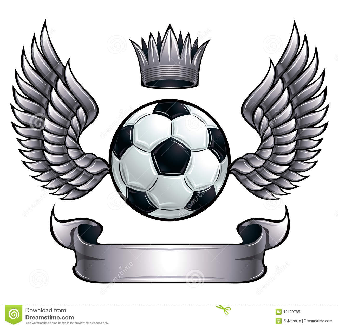 Winged Soccer Ball Emblem. Royalty Free Stock Photo - Image: 19109785