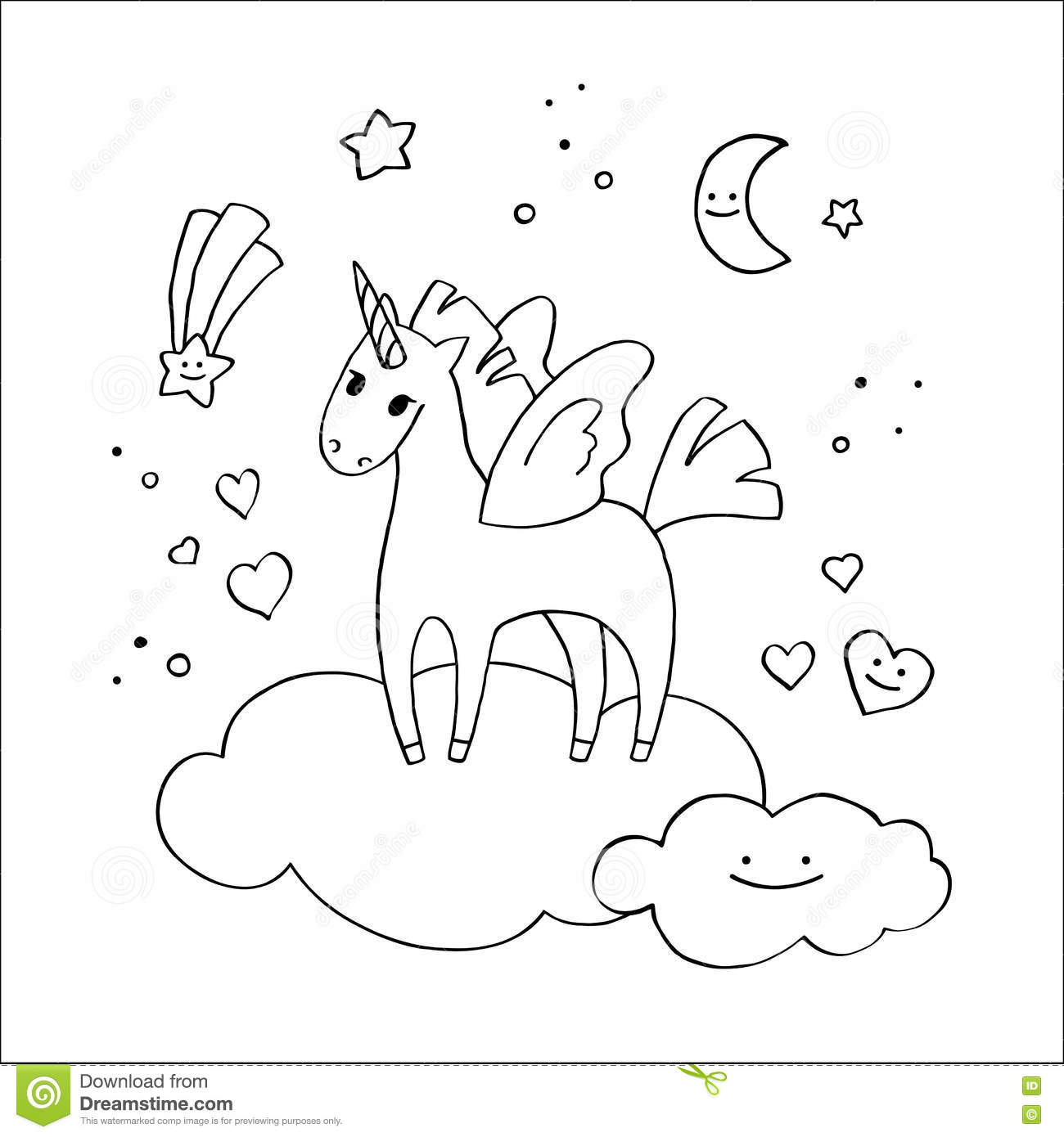 Winged Unicorn In The Clouds In Hand-drawn Style. Stock Vector ...