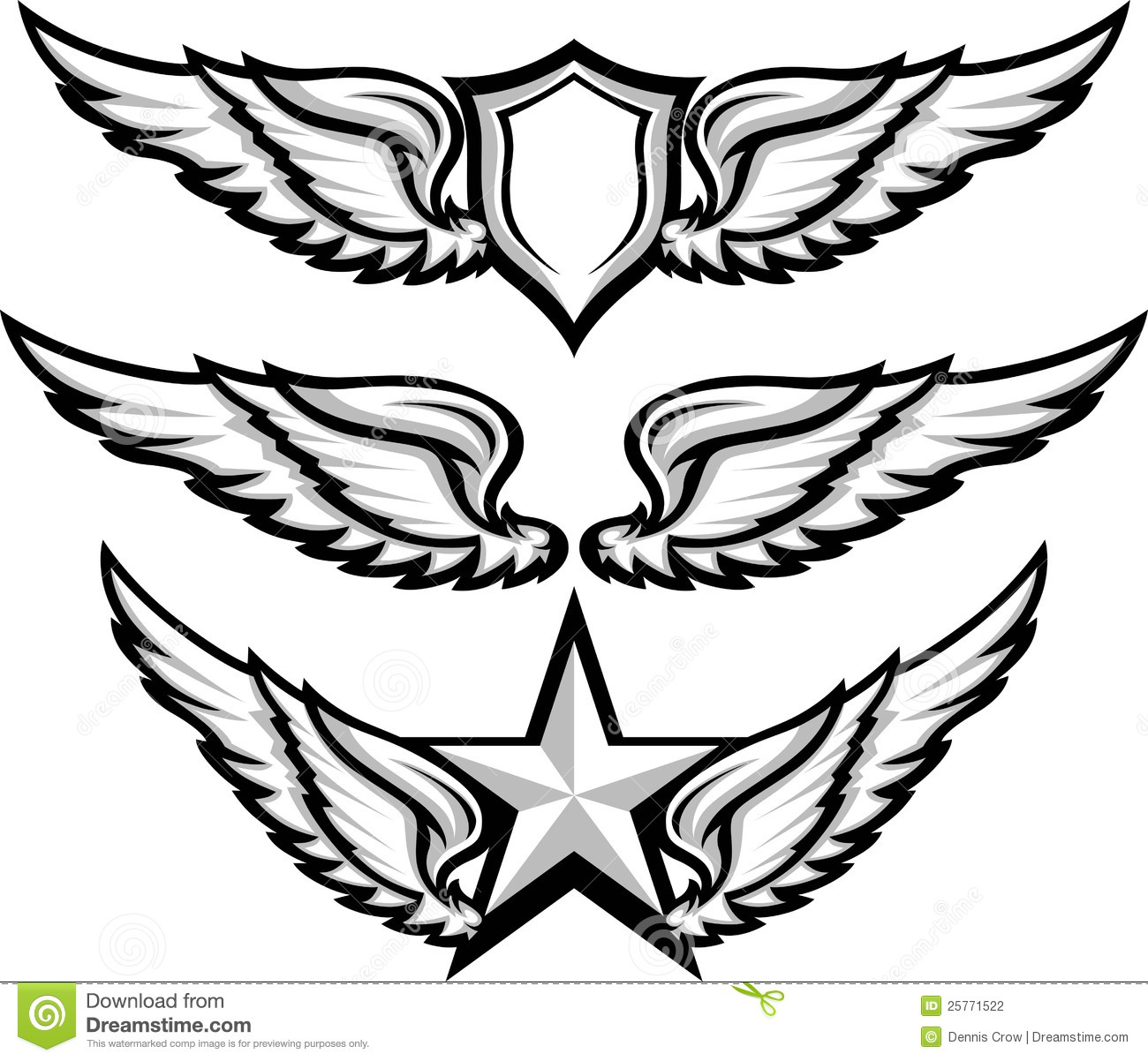 Wings and Badge Emblem Images  Eagle Wings Drawing
