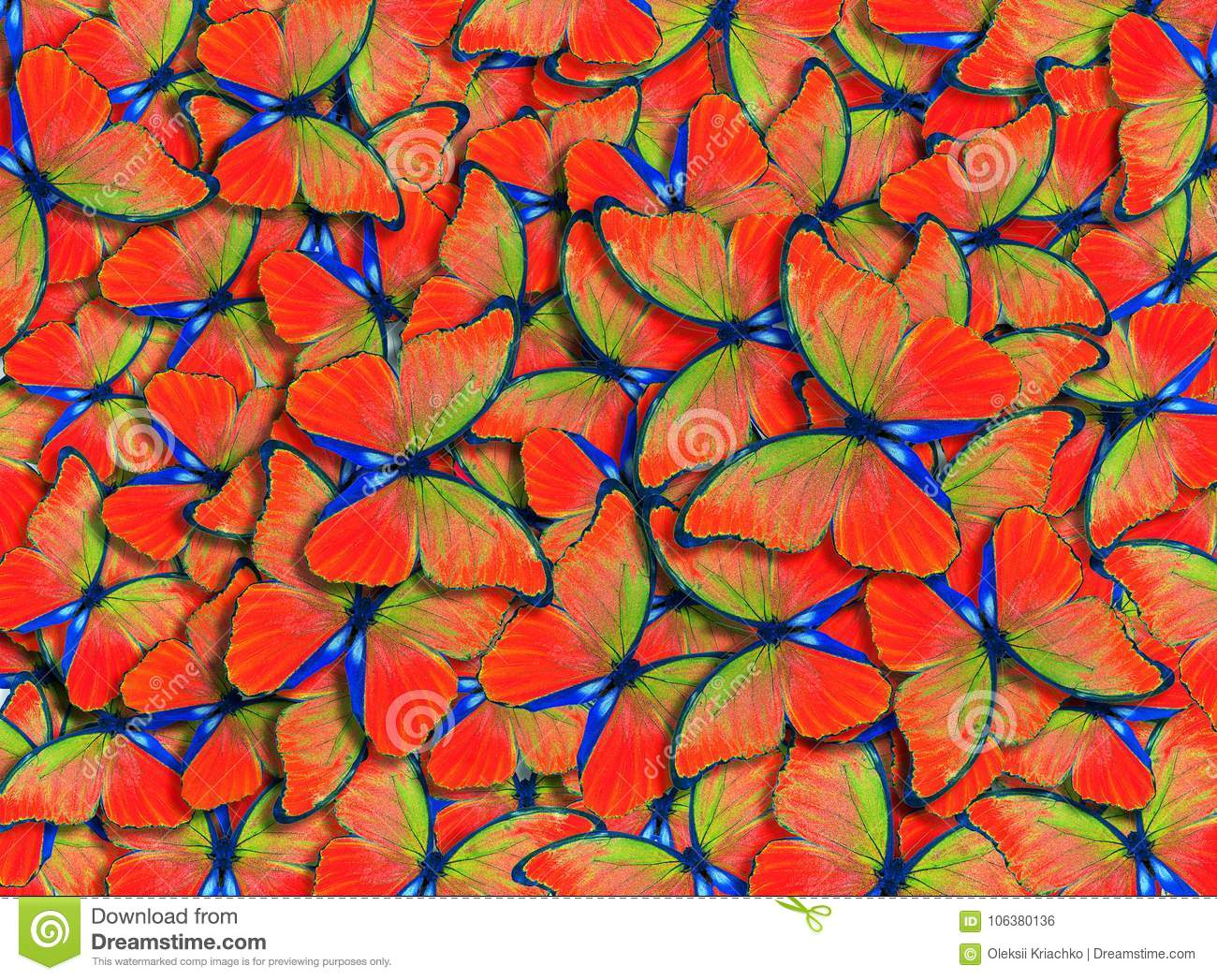 Wings of a butterfly Morpho. Flight of bright red butterflies abstract background.