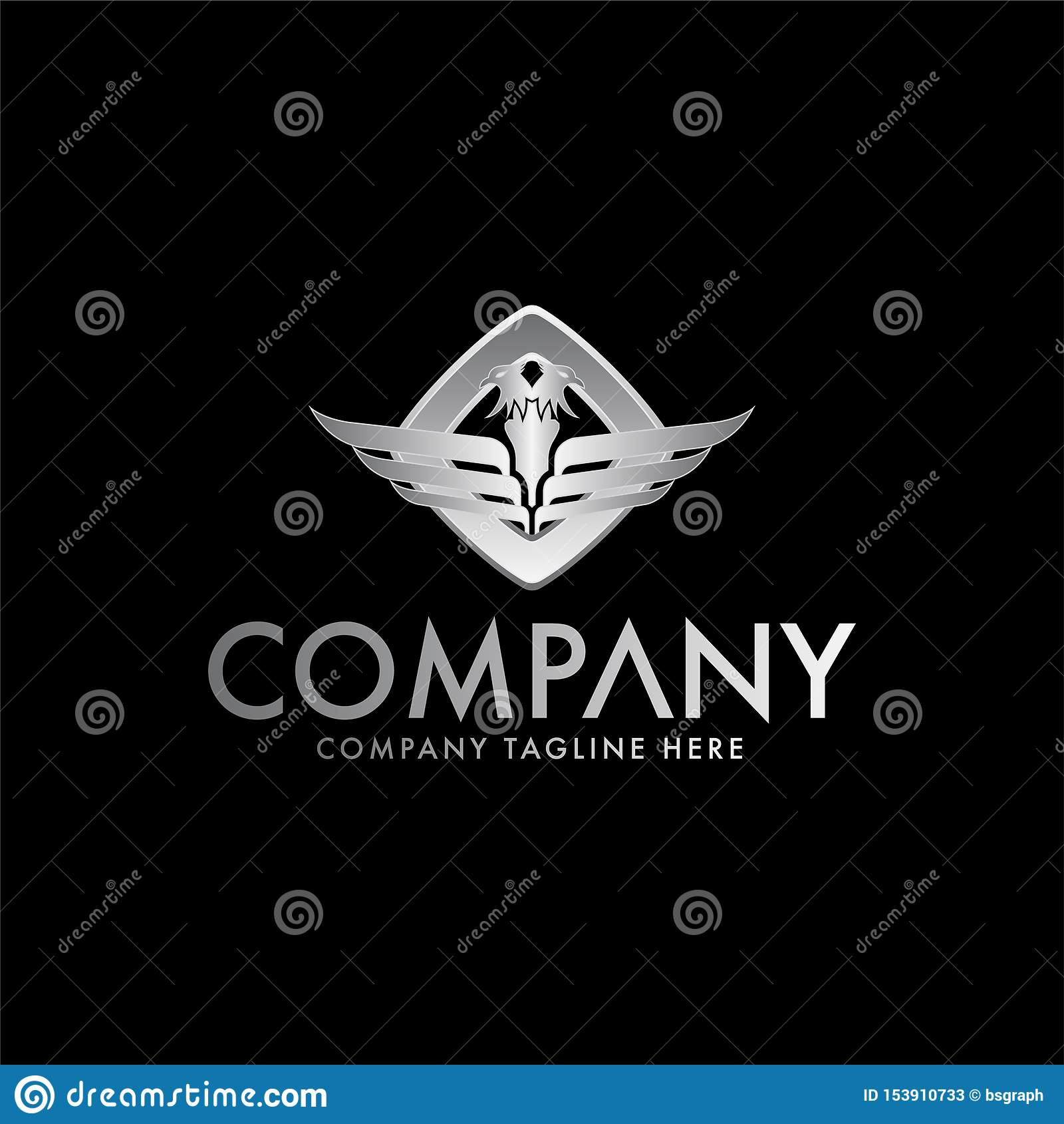 Wings and double heat eagle logo design template