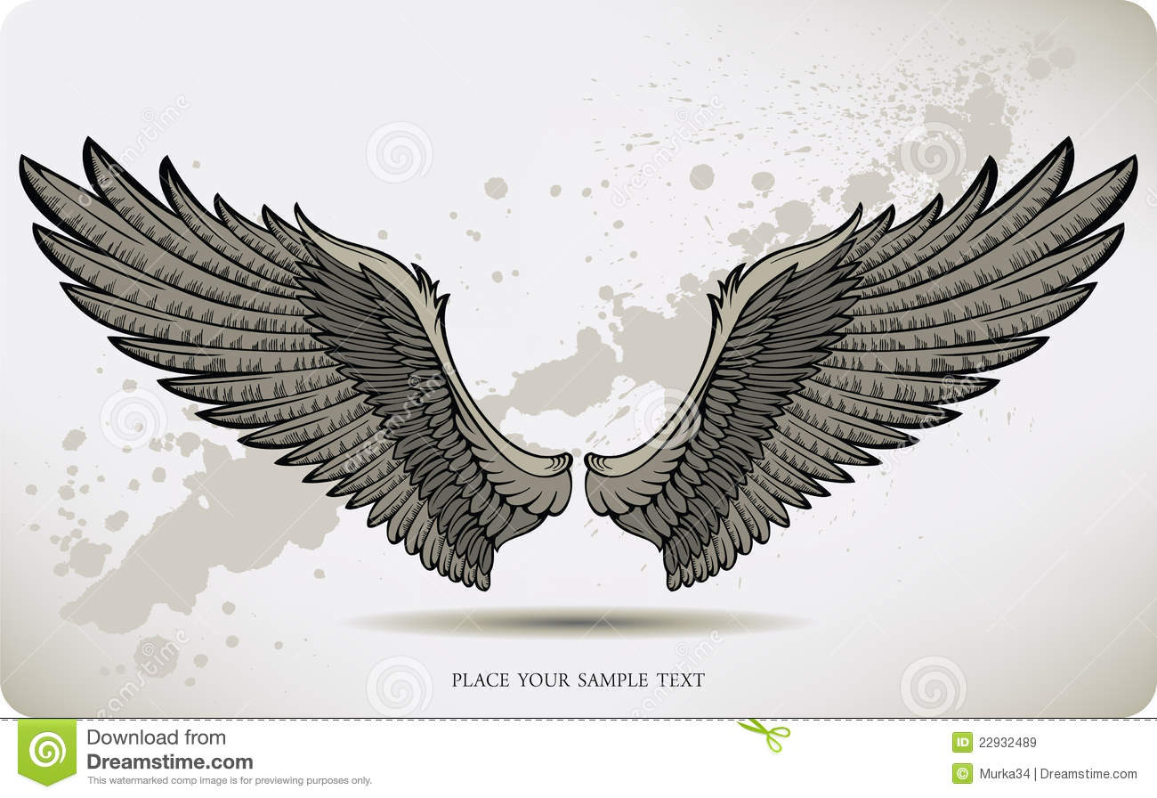 Crow Wings Drawing Hand Vector Illustration Royalty