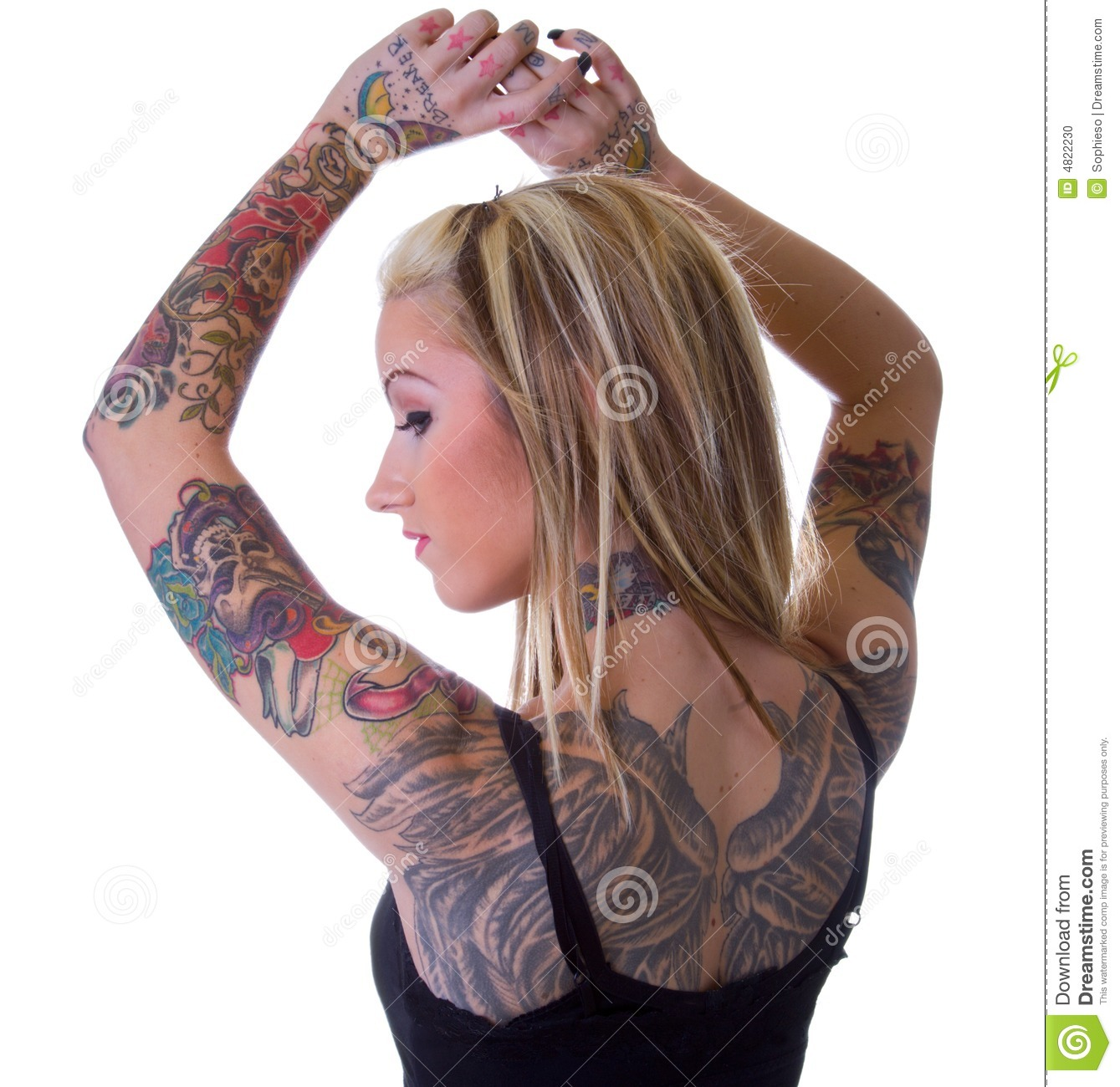 Tattoo Woman Photo: Wings Of Heart Breaker Tattoo Girl Stock Photo
