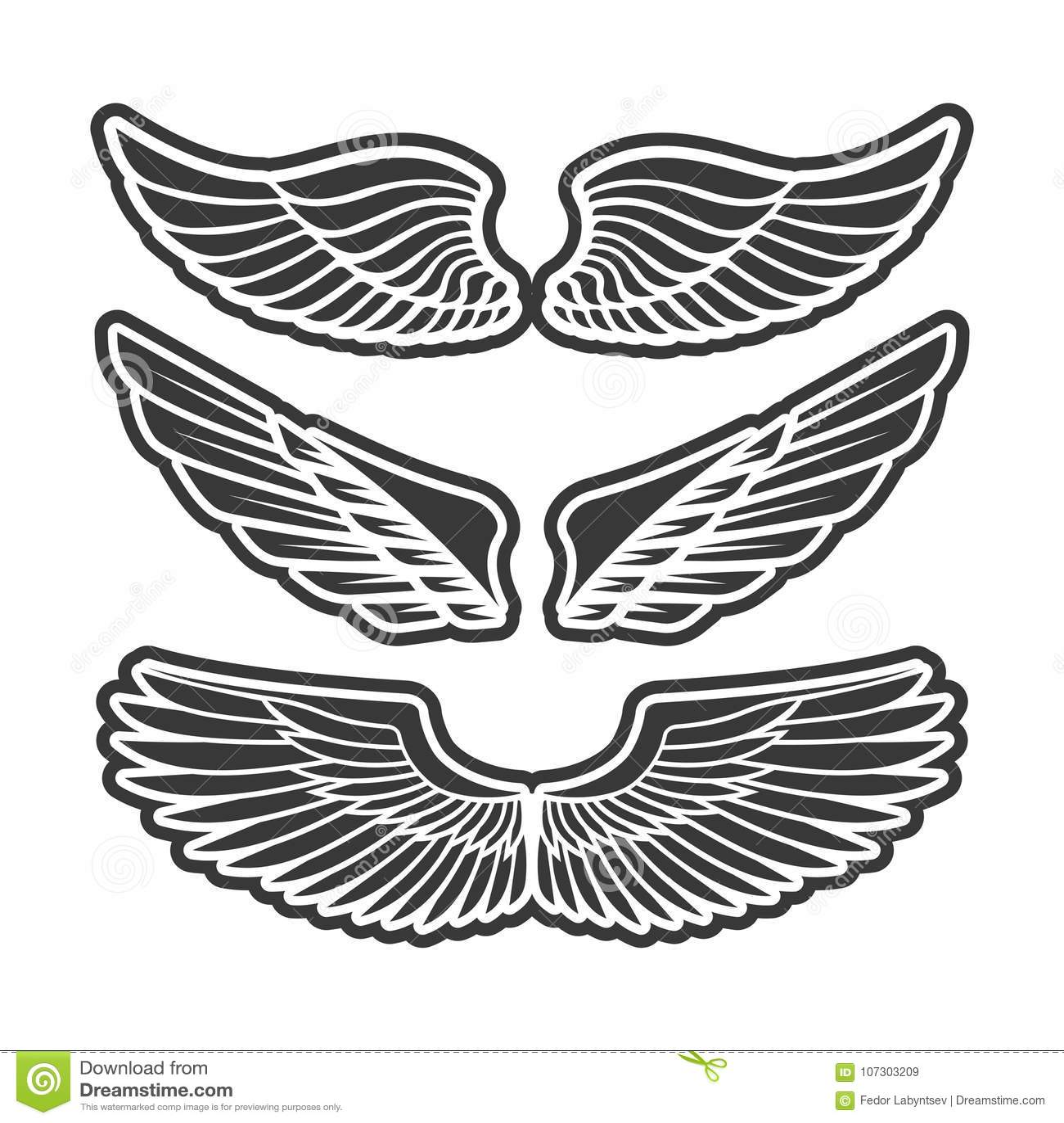 Wings For Heraldry Tattoos Logos Stock Vector Illustration Of