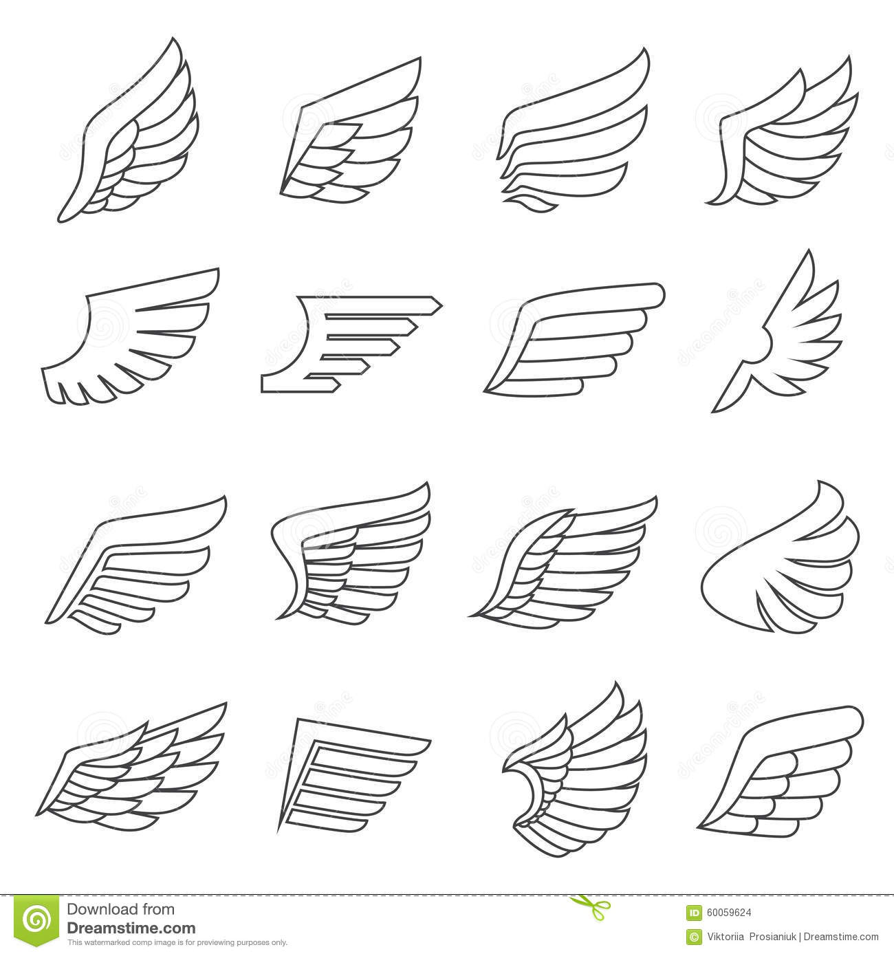 Wings Outline Gray Icons Vector Set. Minimalistic Design. Stock Vector ...