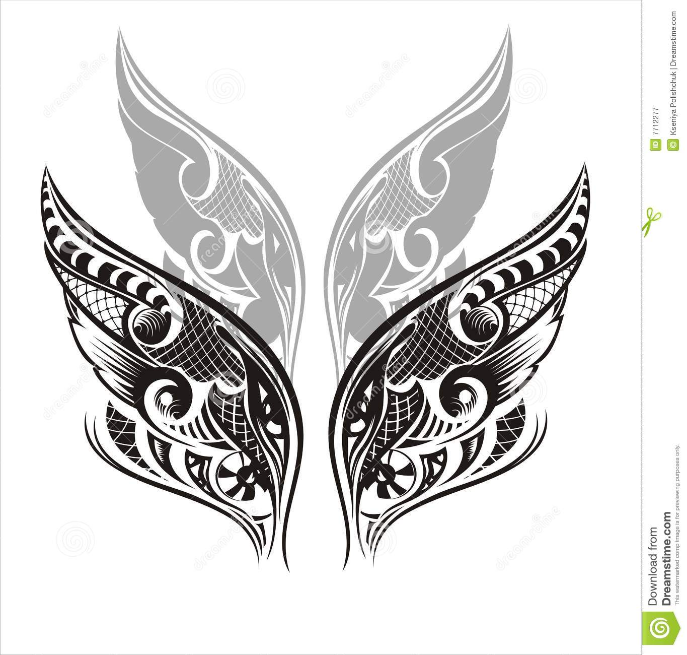 wings tattoo design royalty free stock photography image 7712277. Black Bedroom Furniture Sets. Home Design Ideas