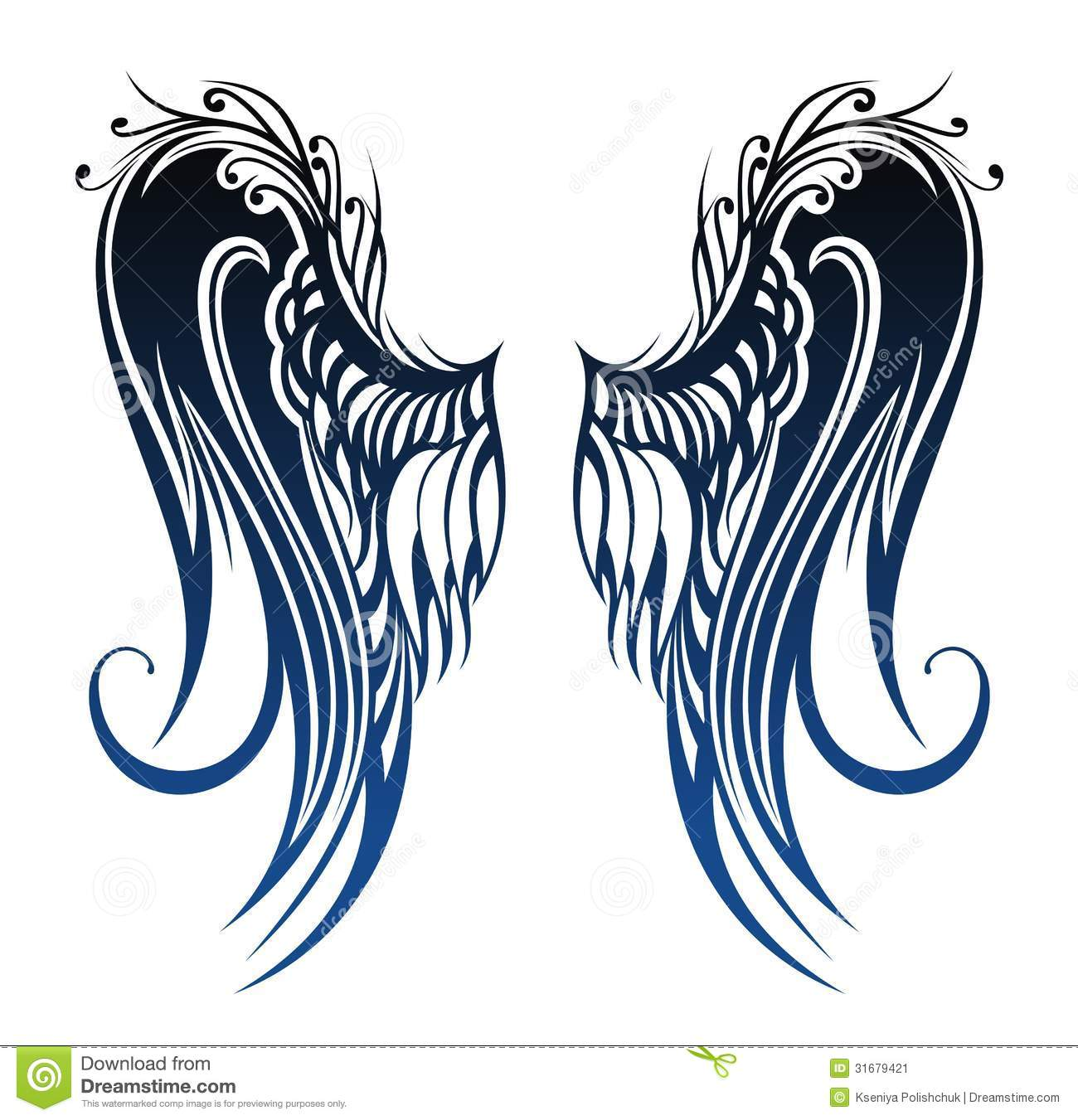 wings tattoo design stock vector illustration of angelic 31679421. Black Bedroom Furniture Sets. Home Design Ideas