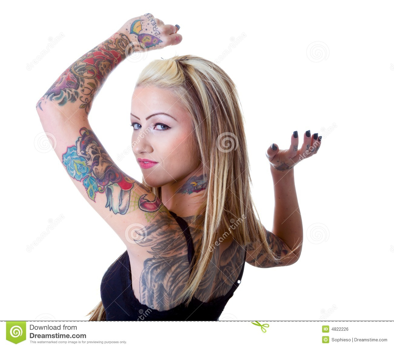Tattoo Woman Photo: Wings Of A Tattoo Girl Stock Photo. Image Of Contemporary