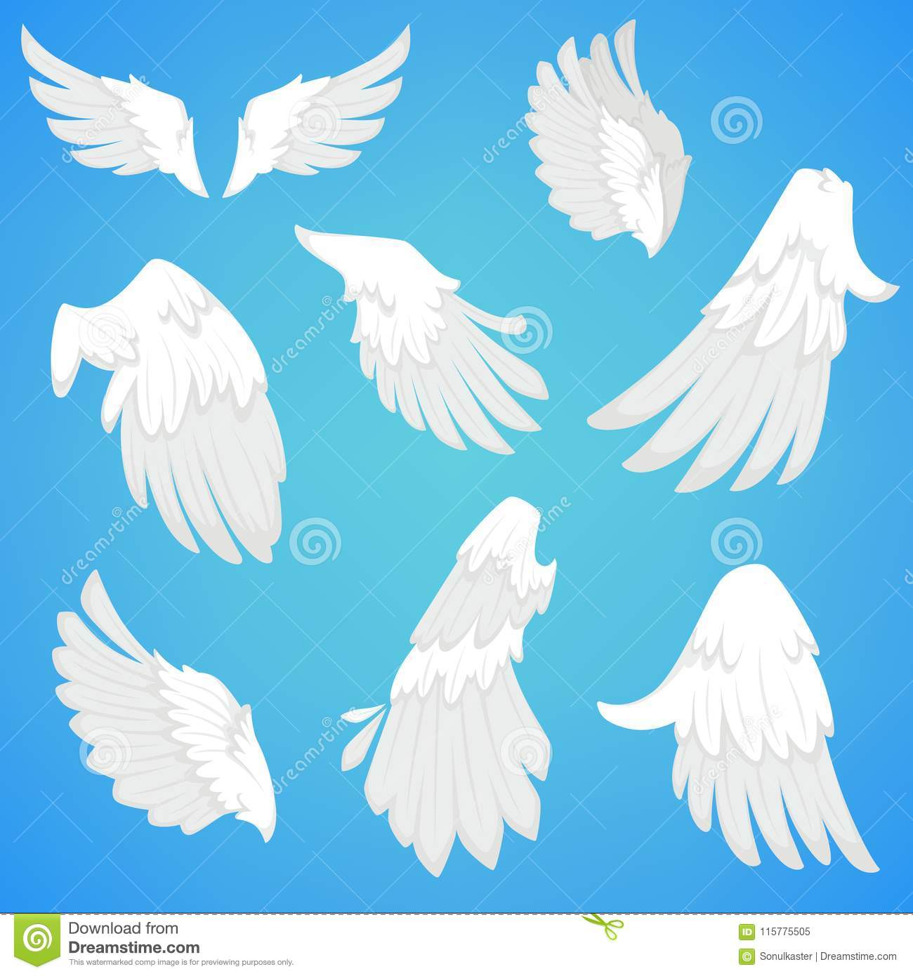 Wings Vector White Bird Feather Icons Stock Vector Illustration Of
