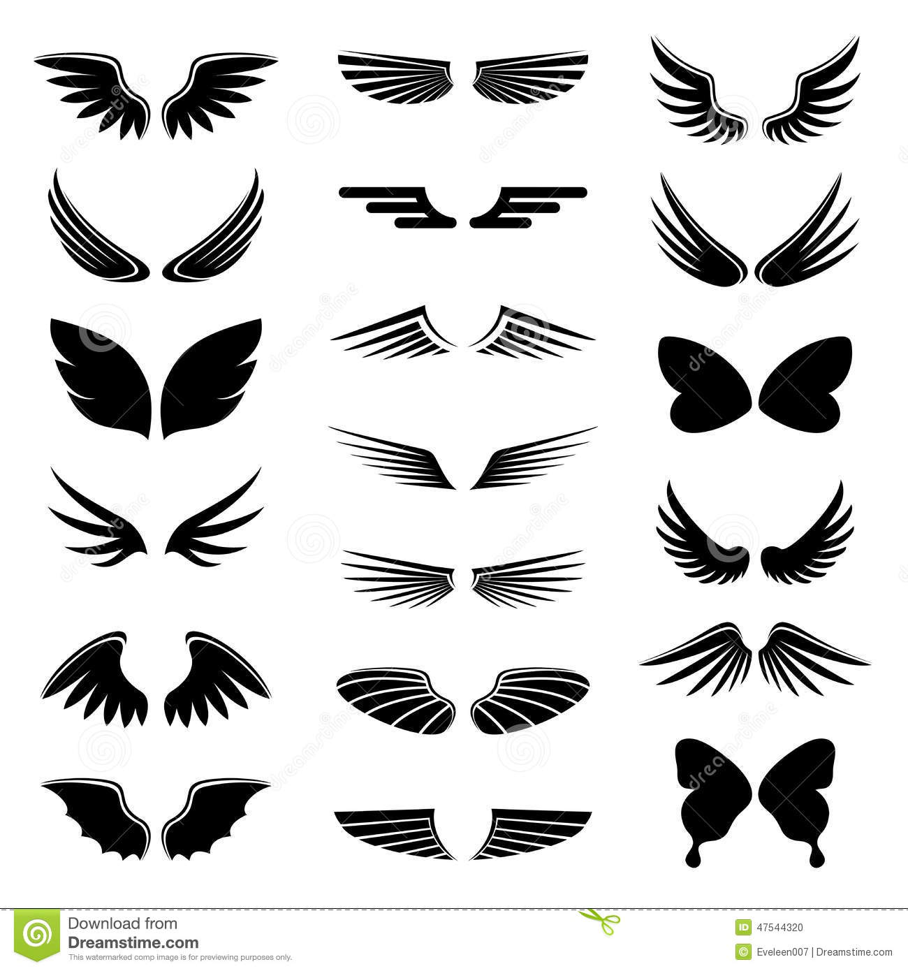 Vector set angel and bird wings, icon silhouette illustration.