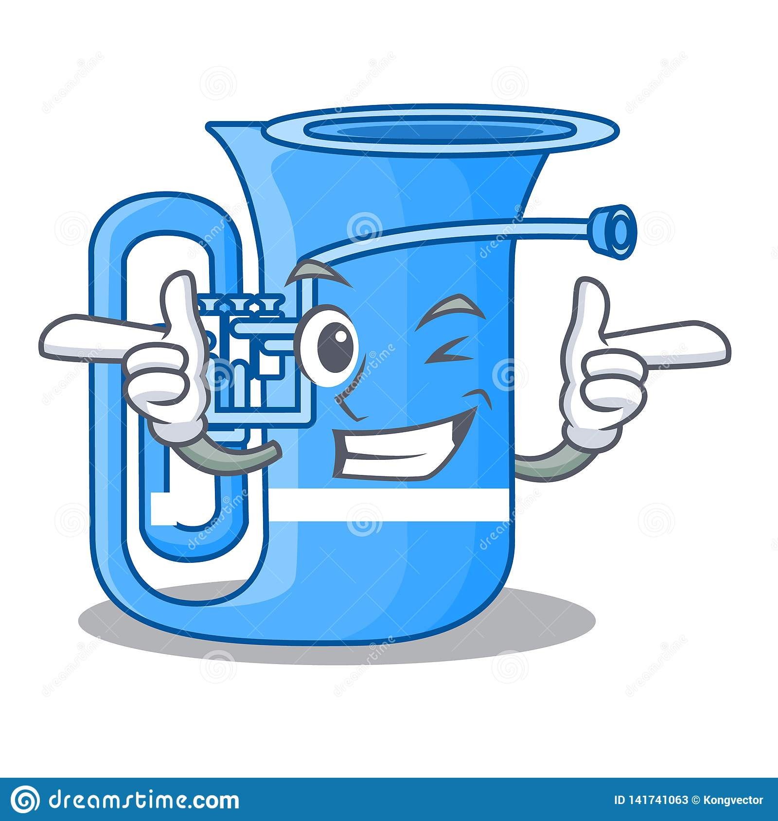 Wink tuba isolated with in the character