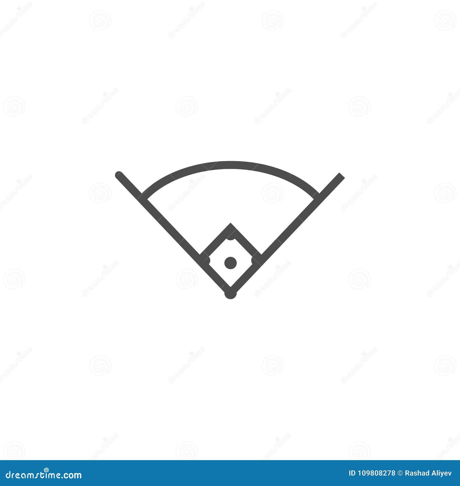 Winkel in der Baseballikone Elemente der Netzikone Erstklassige Qualitätsgrafikdesignikone Zeichen und Symbolsammlungsikone für W