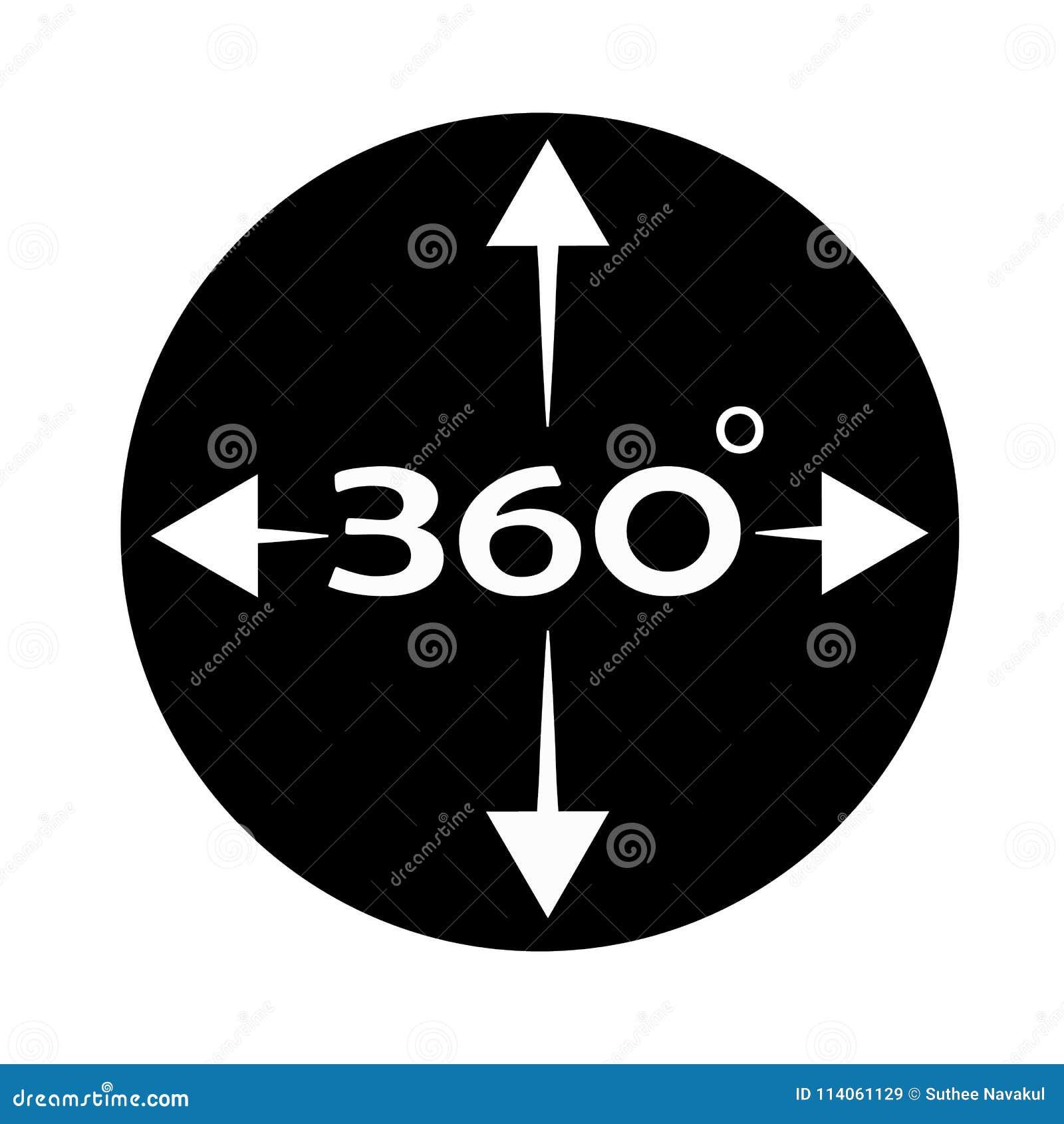 Winkel 360-Grad-Ikone auf weißem Hintergrund Rundumblickzeichen