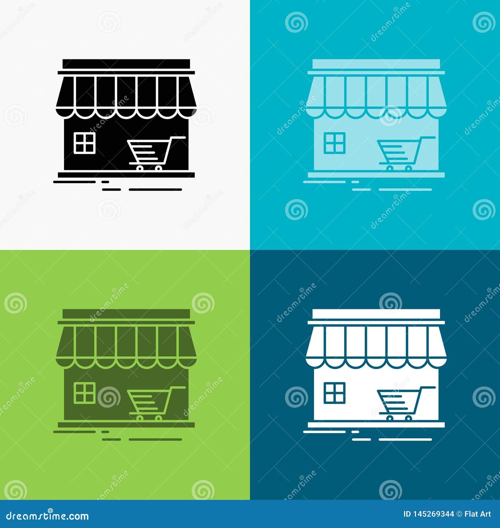 Winkel, opslag, markt, de bouw, het winkelen Pictogram over Diverse Achtergrond glyph stijlontwerp, voor Web dat en app wordt ont