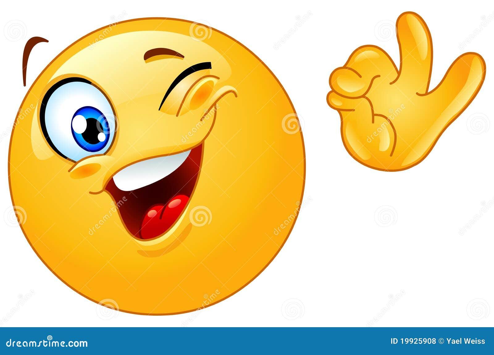 Winking emoticon stock vector  Illustration of happy - 19925908