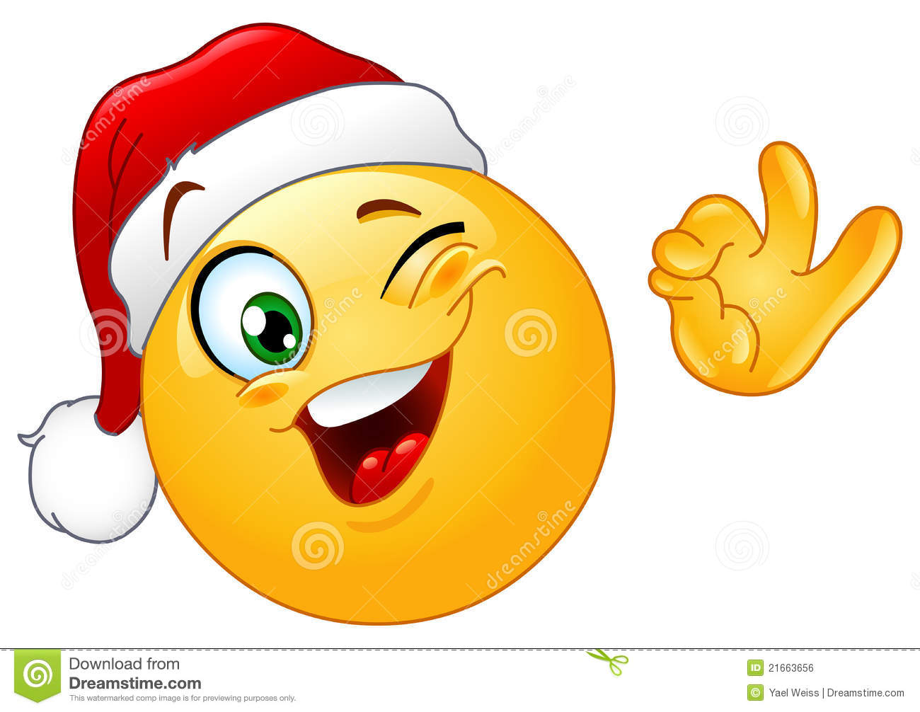 Winking emoticon with santa hat stock vector