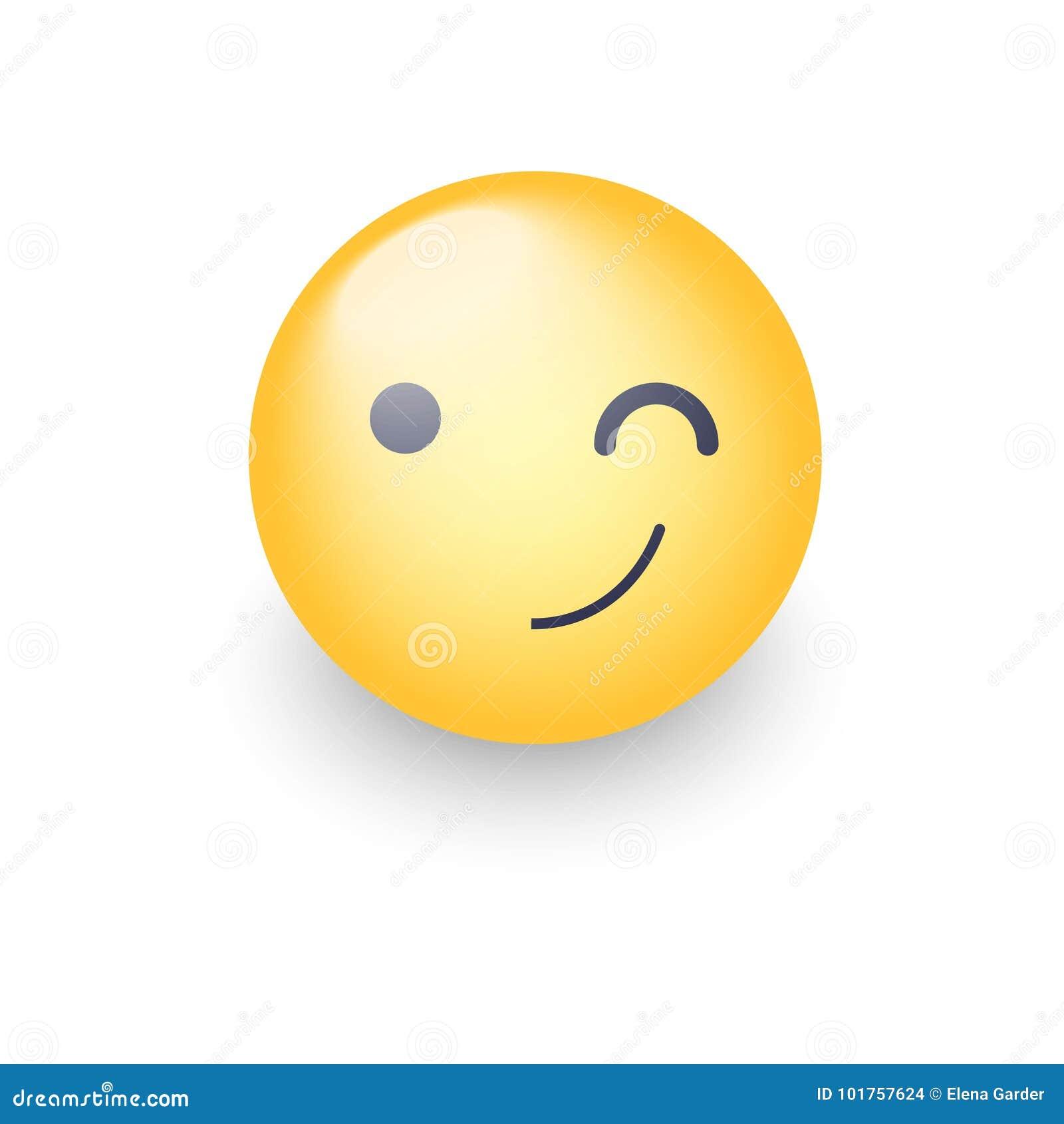 Winking Fun Cartoon Emoji Face  Wink And Smile Happy Vector Emoticon