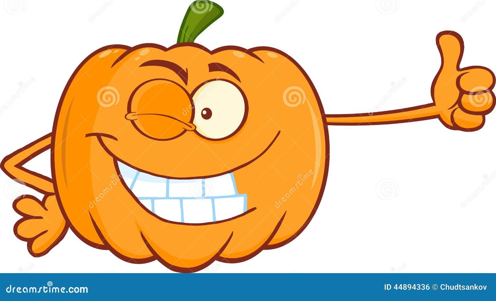 ... Illustration: Winking Pumpkin Cartoon Character Giving A Thumb Up