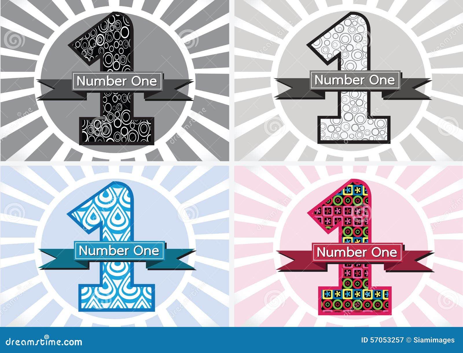 Winnaar en Aantal Één Eerste Plaats ondertekenen simbol met linten