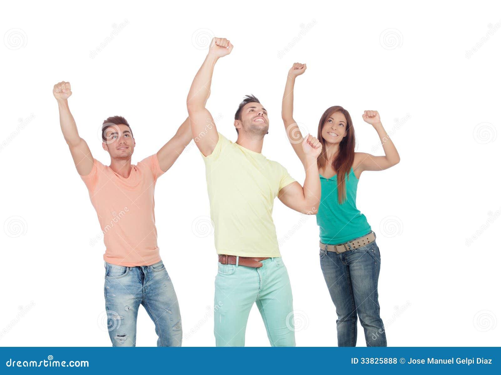 Winnaar mooi meisje met twee knappe jongens royalty vrije stock foto 39 s beeld 33825888 - Twee meisjes en een jongen ...