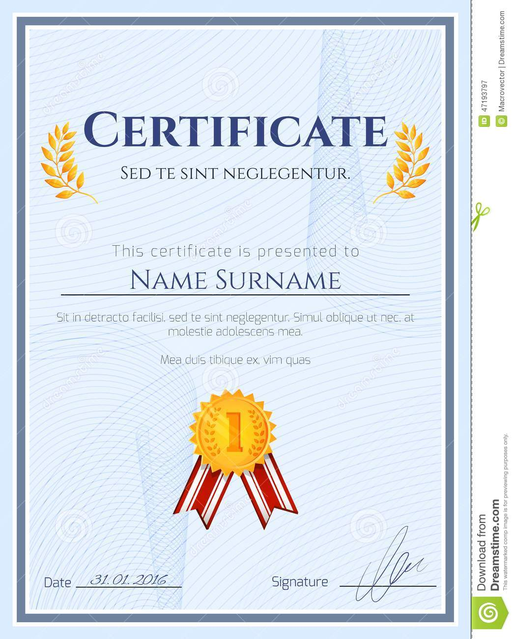winners certificate template - winner certificate with seal stock vector illustration