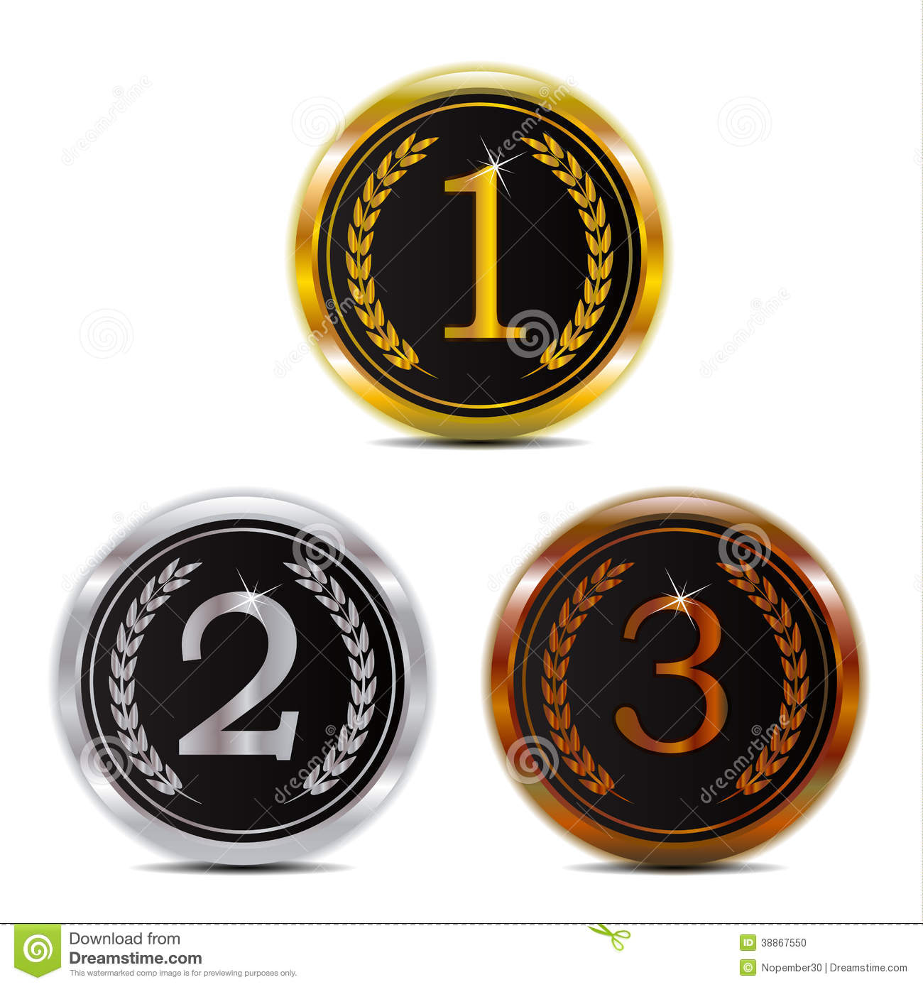Winner 123 Gold Silver And Bronze Badge Stock Vector