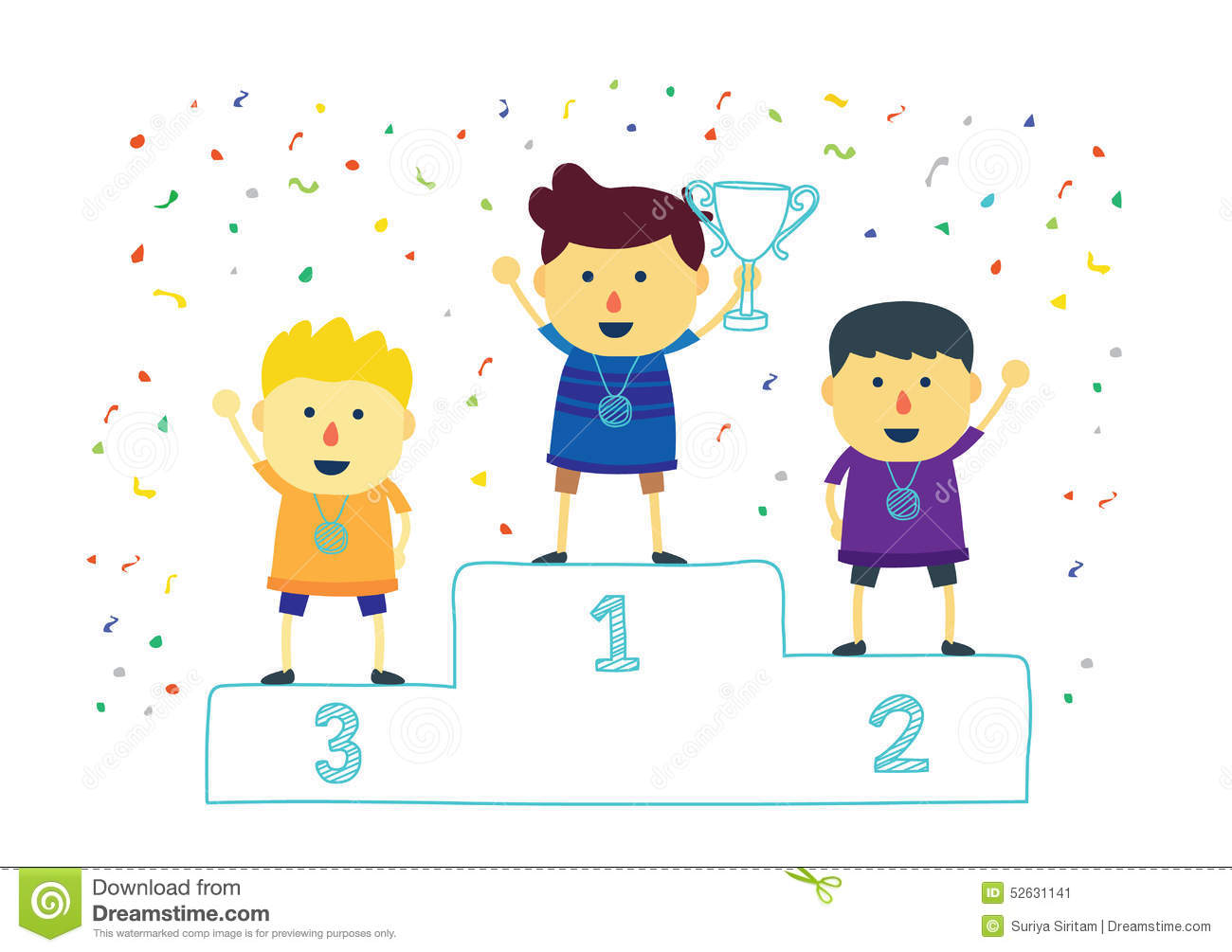 Winner Kids Holding Up Winning Trophy Stock Vector