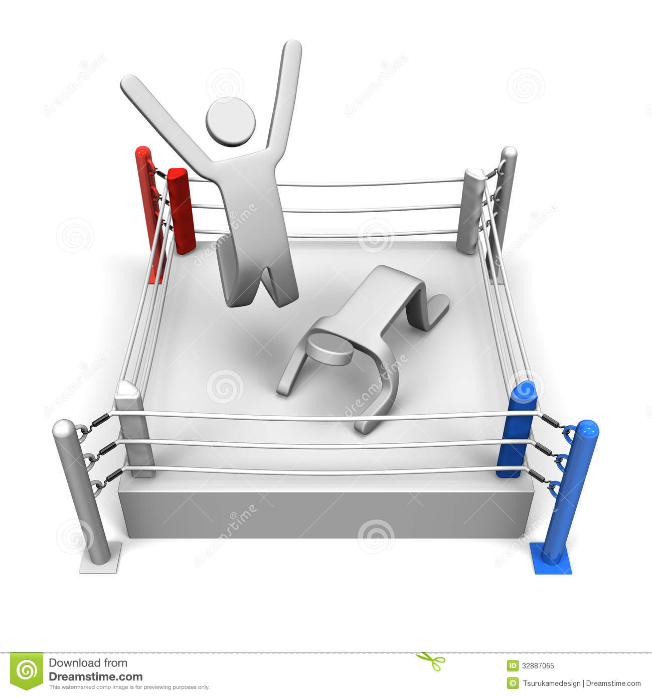 Winner And Loser On Boxing Ring Top View Royalty Free