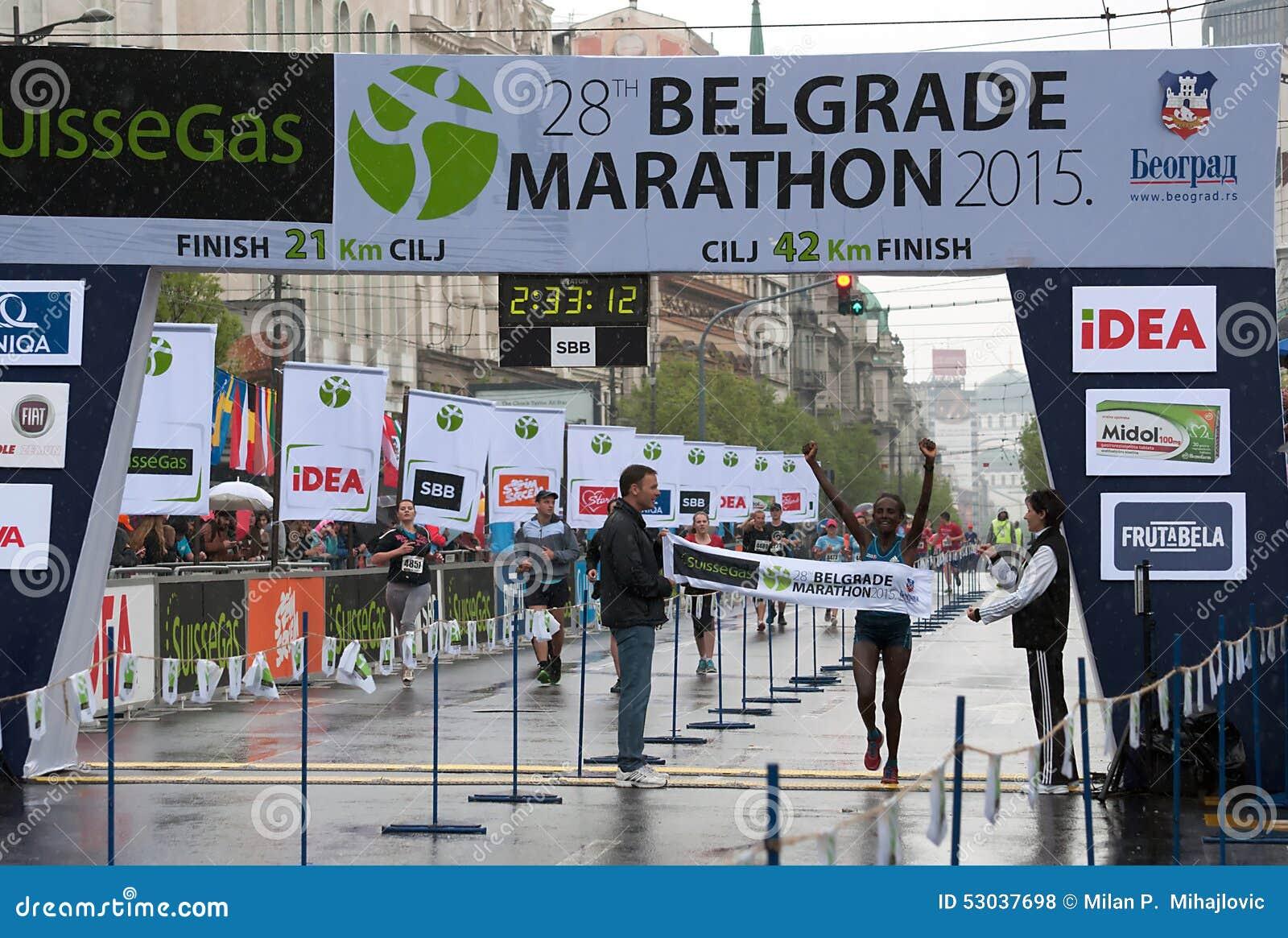 The winner of the marathon for women