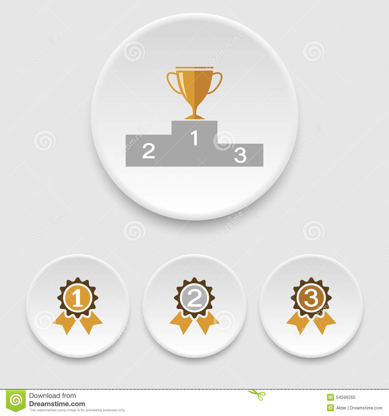 Winner Podium, Champion Cup And Awards Icons Stock Vector