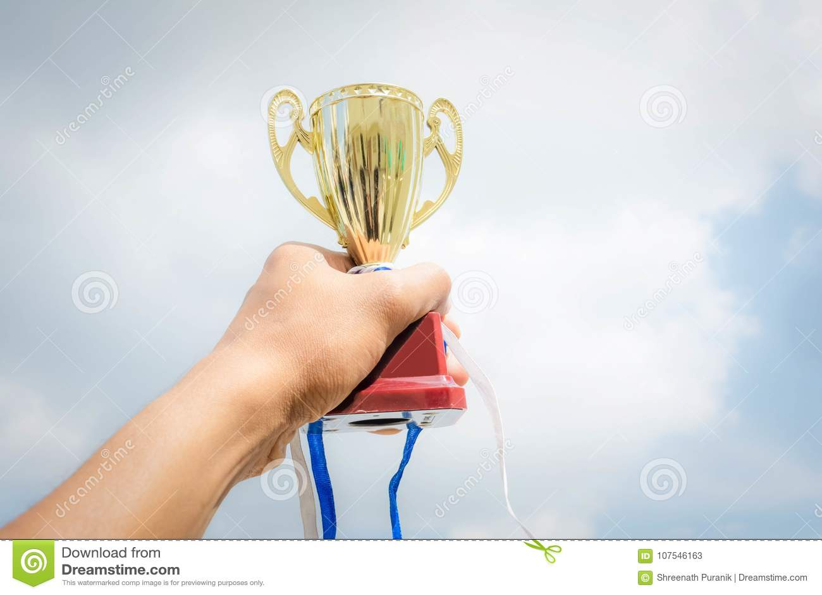 Winner trophy cup on sky background