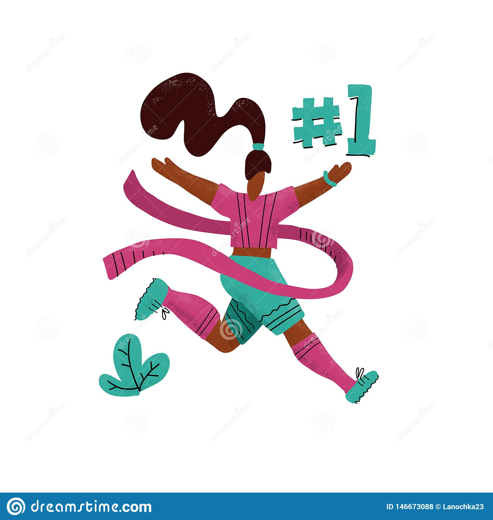 Winner woman running into the finish. Happy hand drawn sports woman crossing finish tape. Athletic girl taking part in running