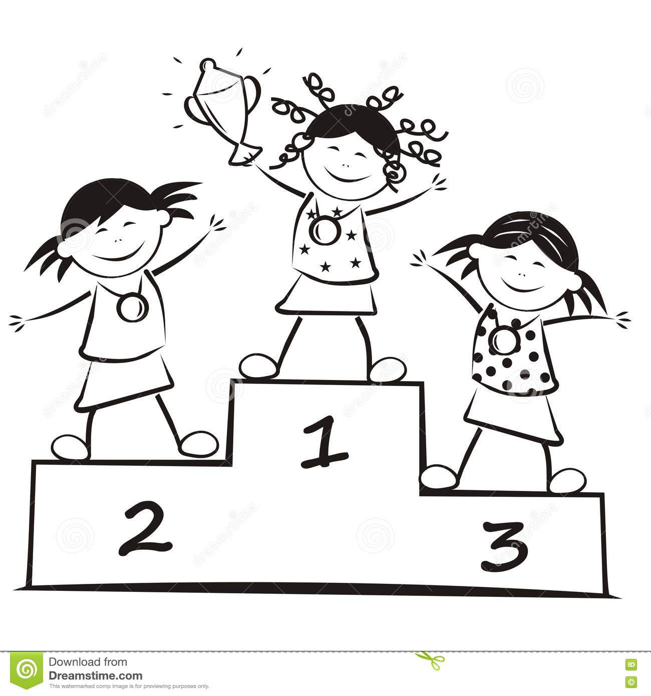 Winners On The Podium, Coloring Book Stock Vector ...