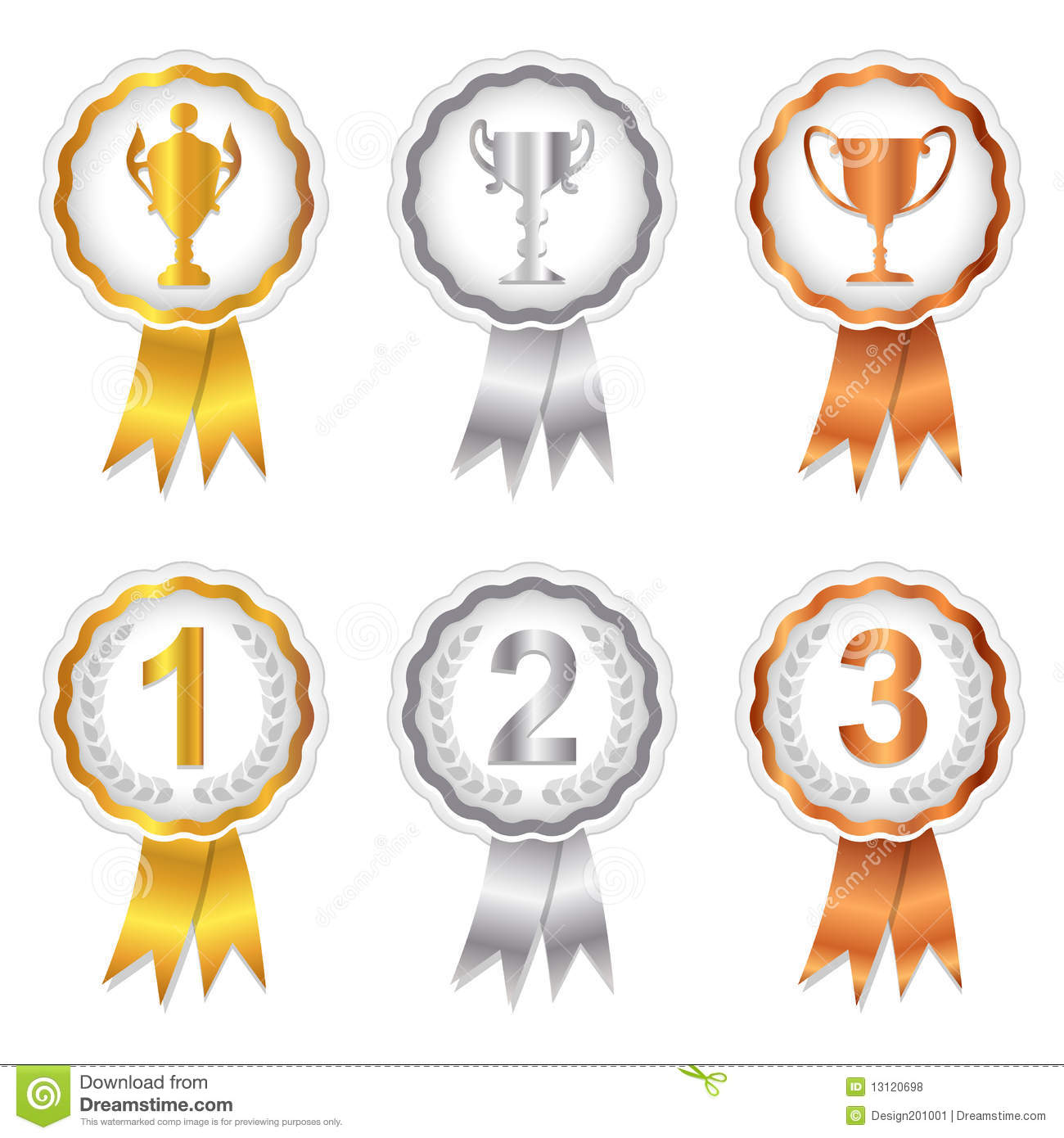 2nd place stock vector illustration royalty free 2nd place clipart - Winners Set 1 Gold Silver And Bronze Rosettes Royalty