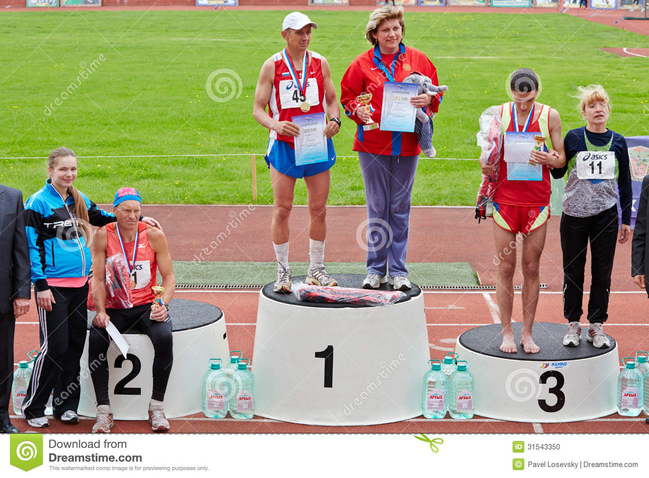 Winners and their trainers at XXI Moscow supermarathon