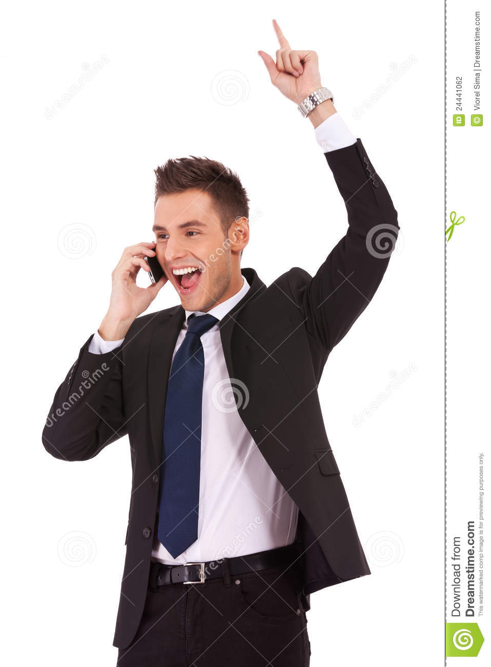 Winning business man on the phone