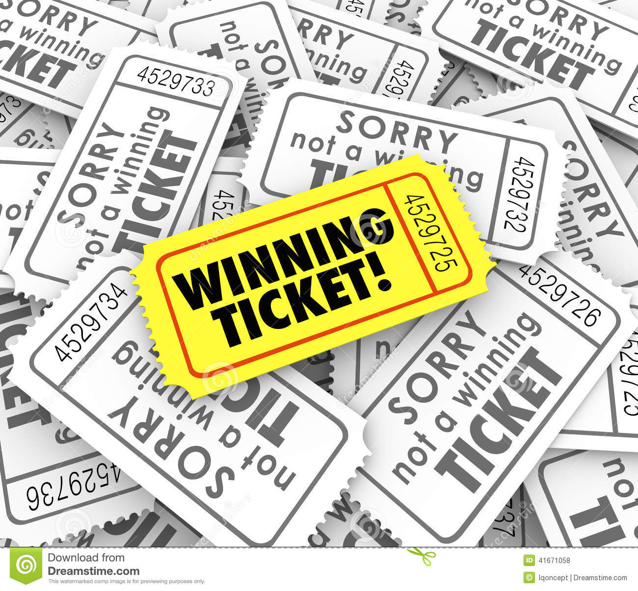 winning ticket one unique winner raffle lottery prize stock winning ticket one unique winner raffle lottery prize