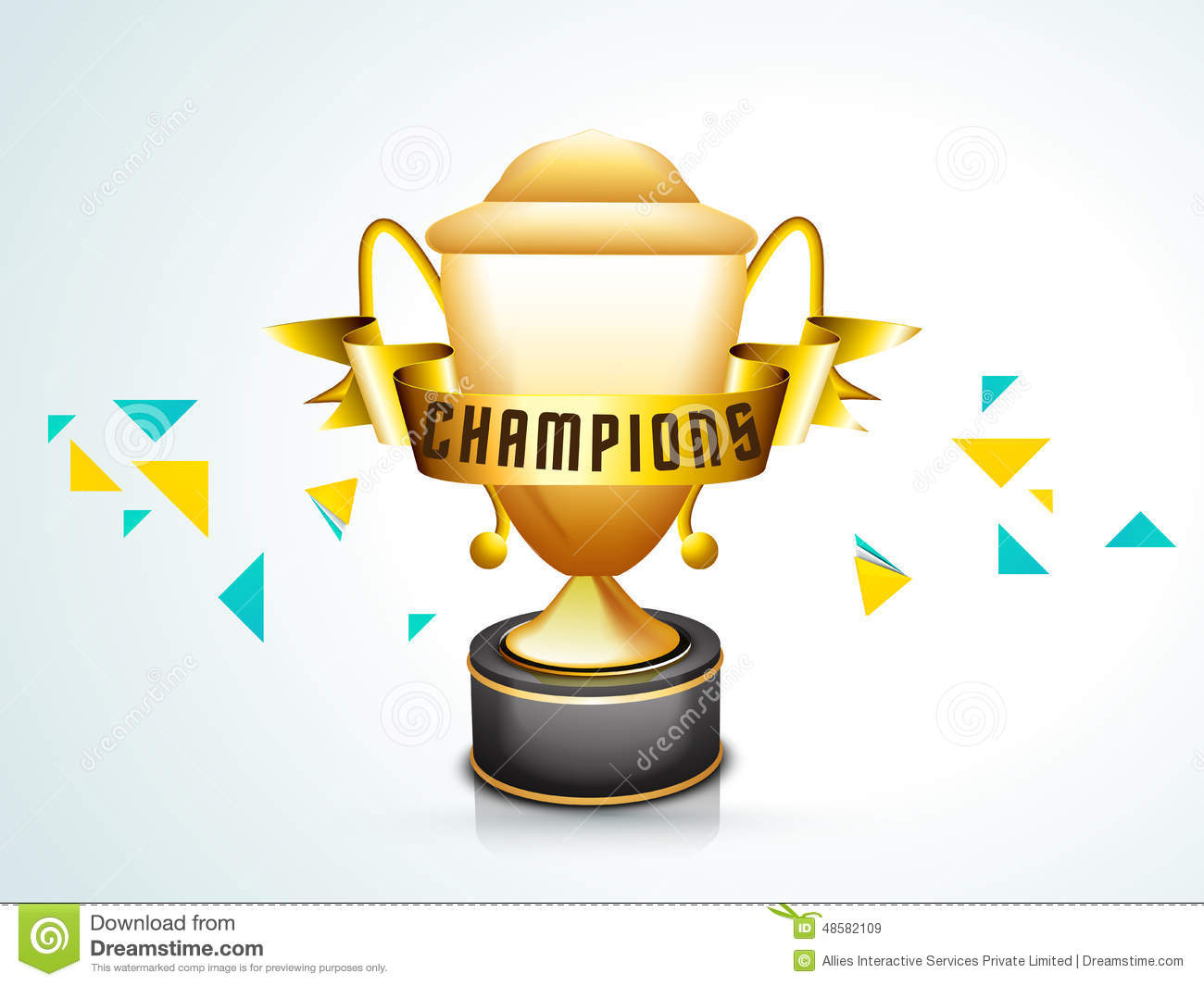 Champions Image: Winning Trophy For Cricket. Stock Illustration