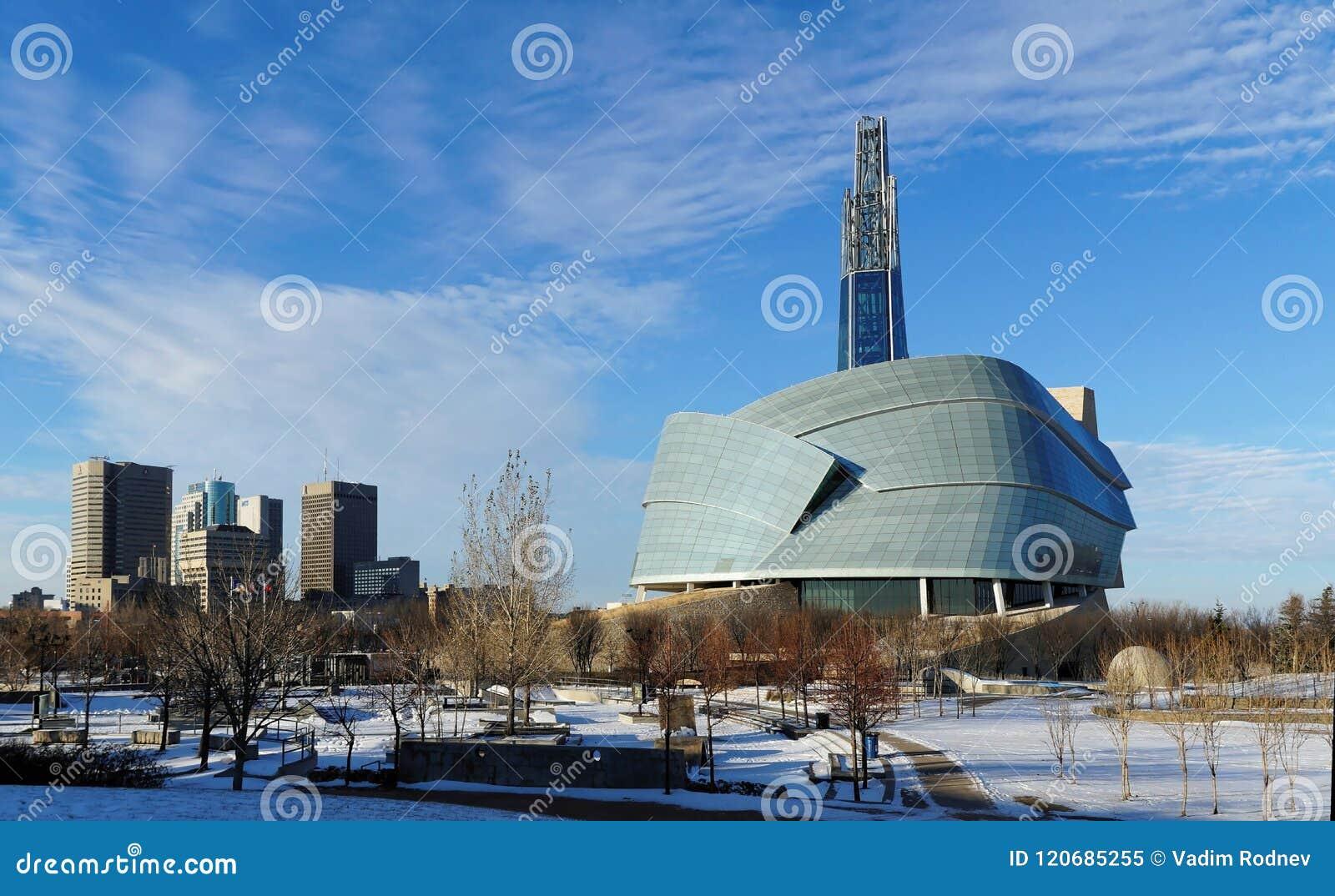 Winnipeg στο κέντρο της πόλης εικονική παράσταση πόλης Χειμερινή άποψη σχετικά με το καναδικό μουσείο τα ανθρώπινα δικαιώματα που