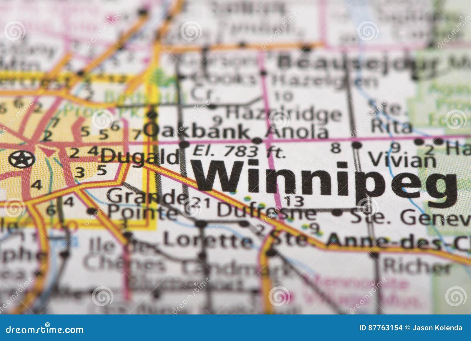 Winnipeg On Map Of Canada.Winnipeg Manitoba On Map Stock Photo Image Of Destination 87763154