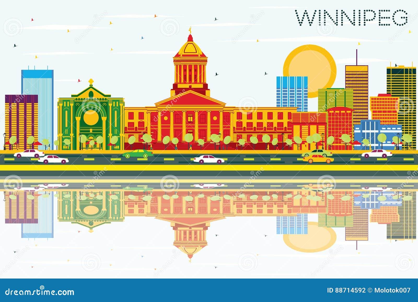 Winnipeg Skyline With Color Buildings, Blue Sky And