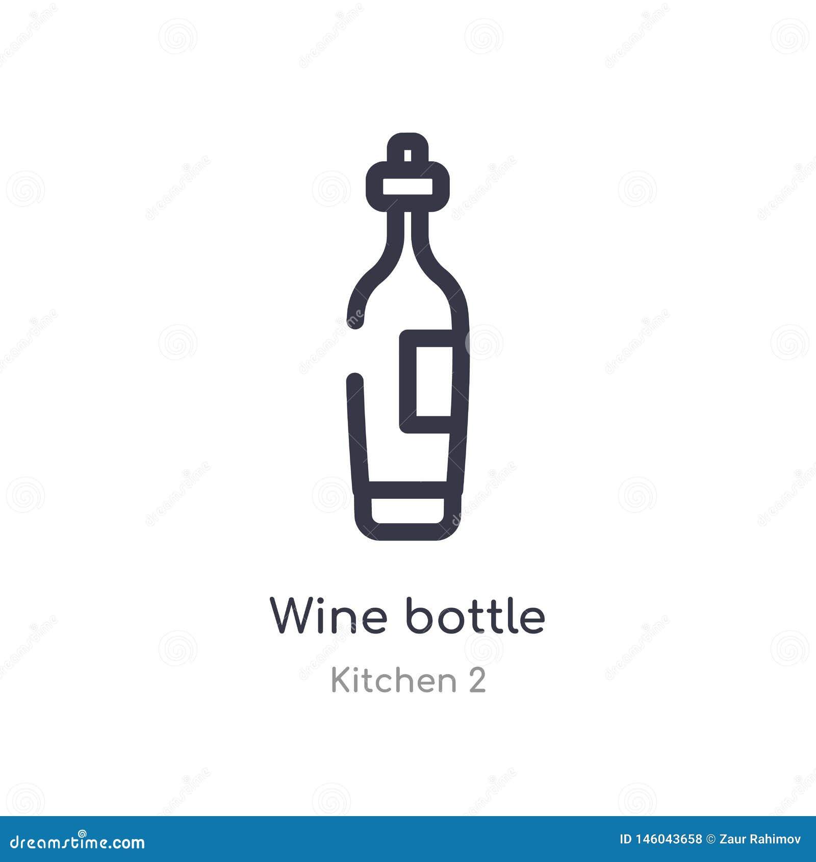 Wino butelki konturu ikona odosobniona kreskowa wektorowa ilustracja od kuchni 2 kolekcji editable cienieje uderzenia wina butelk