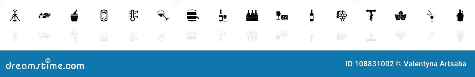 Wino - Płaskie Wektorowe ikony