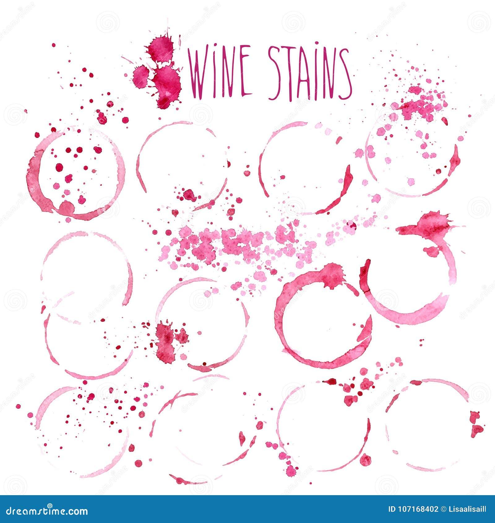 Wino plami wektorową akwareli ilustrację Wino bryzga i plamy odizolowywać na białym tle